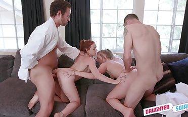 Amateur sluts swap partners in a premium foursome
