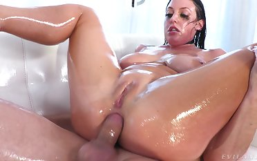 Deep anal fucking for oiled more brunette mess up Angela White