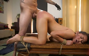Teen endures her first maledom with her step brother