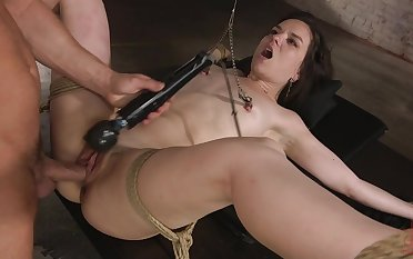 Excellent BDSM porn and real orgasm while she plays duteous
