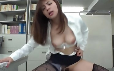 Pulchritudinous busty Japanese lady - office sex, big tits and hairy pussy