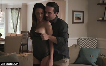 Insatiable wife in sexy lingerie and stockings Eva Long gets fucked hard
