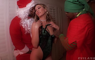 Two blackguardly dudes in Santa costumes fuck X snow maiden Adira Allure