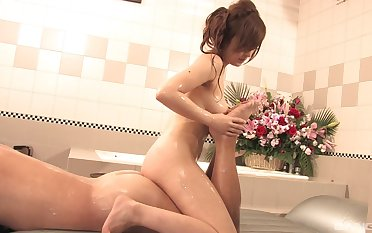 Japanese fro big tits, soapy massage and oral sex