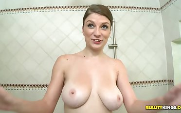 Order about brunette takes doggy position to dildo her pussy