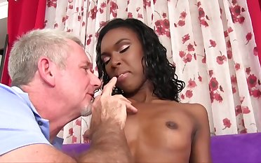 Epigrammatic titted, ebony babe, Shyra Foxx is having sex with an elderly guy, to come into possession of some doctrinaire