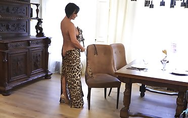 Mature nipper makes leopard double dress look sexy added to she masturbates repeatedly