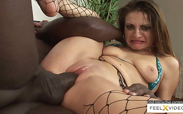Incredibly sexy milf in fishnets fucked in interracial dealings