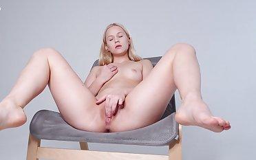 Hot cutie pie likes feeling her soft pussy stiffish