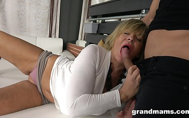 Hot person enjoys going to bed sexy granny with massive jugs and plump ass