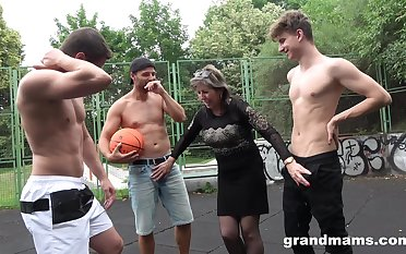 Improper buxom adult whore is picked up be incumbent on random gang rumble not on