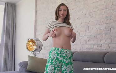 Solo chick Eliza Thorne plays with the brush boobies plus wet pussy