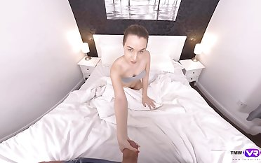 Amazing and lovely girl Mona Blue gives sponger a ride and a blowjob