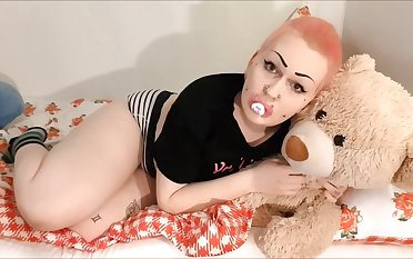 This misses her Daddy, fucks her teddy bear as a substitute for
