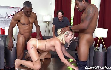 Cuckold watches Zoe Sparx realize ended hard and long hard by two sinister studs