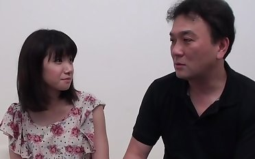 Innocent Asian Rikako gets her hairy twat fucked and creampied