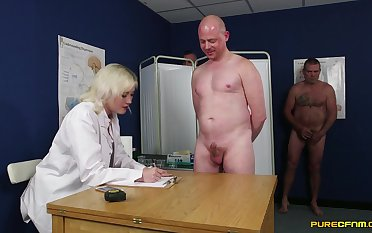 Amateur guys get their cocks measured by dirty Misha Mayfair