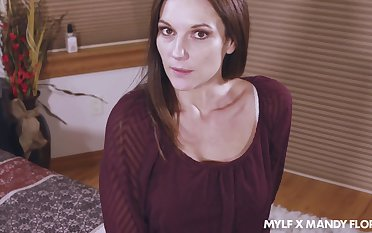 Flirty stepmom Mandy Flores takes cumshots on say no to white panties
