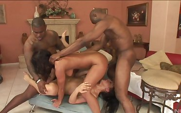 Black dicks surrounding suit these naked amateurs in merciless foursome at home