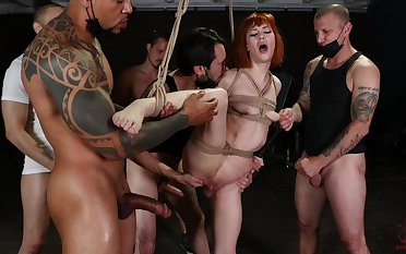 Ginger slut plays trained in hardcore gangbang BDSM play