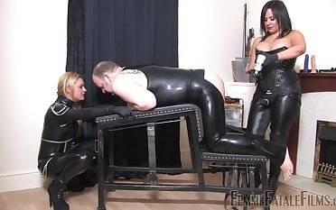Nasty dude in latex gets fucked away from Mistress Athena together with Mistress R'eal