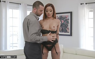 Slim redhead undresses for this alms-man to corrosion her