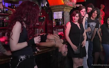 Submissive slut Melody Petite tied up and fucked in public