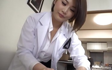 Foxy Japanese doctor drops her panties to shot fun with a patient