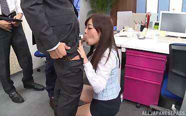 Hot Japanese office babe gets intimate at work with all her colleagues