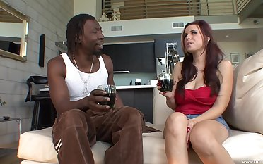 Busty of age Rachel S. opens her legs to ride a large black dick