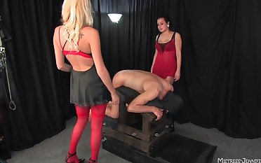 Show the way slave gets his ass fucked by Mistress Autumn coupled with Mistress Kiss