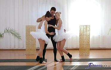 Ballerinas Cristal Caitlin increased by Lucy Li burrow into FFM threeway antics