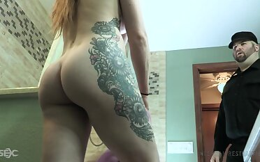 Stacked tatted up nympho Cora Moth gets fucked in all directions the prison