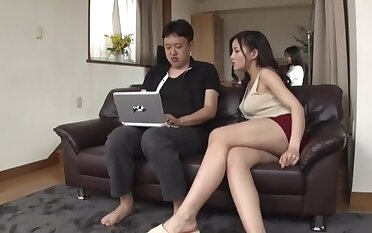 Busty Japanese fit together can't wait to feel cock inside their way shaved snatch