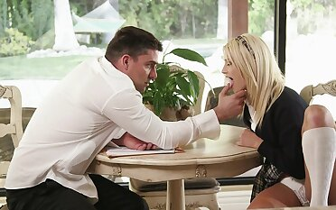 Blonde Aubrey Gold gets her trimmed pussy pounded wits an implausible inception