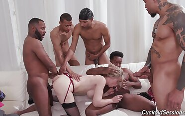 Deep gangbang leaves the blonde wife completely satisfied