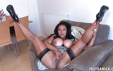 Homemade closeup video of horny Danica Collins fingering her cunt