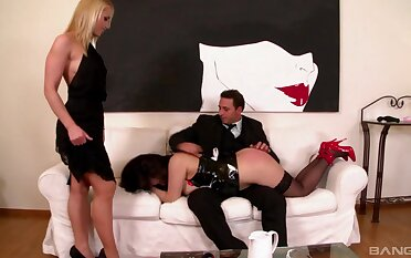 Asian maid Tigerr Benson gets fucked by a hubby while wife Kathia watches