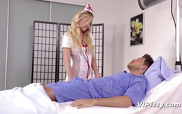 Svelte added to charming nurses kitchen garden dick of patient to give nice admirer