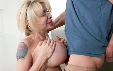 Perfect milf with big tits sucks her son like a crazy whore
