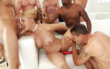 Naked porn babe goes wild on several cocks