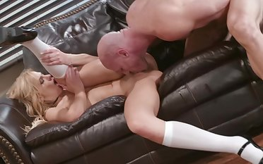 Hard sex on the leather couch for the slutty secretary