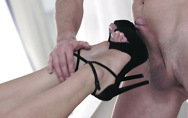 Blonde on high heels, sensual foot fetish sex play