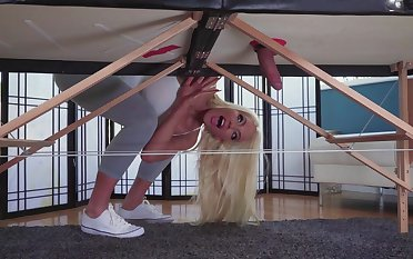 Insolent blonde gets her hands on a big one