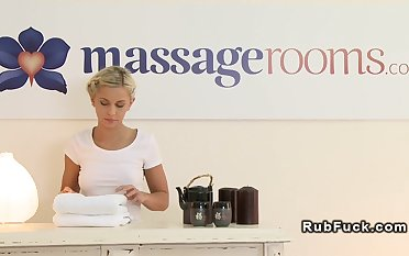 Blonde masseuse fingers oiled babe