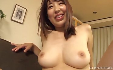 Busty Japanese MILF wife sucks and fucks her husband at home