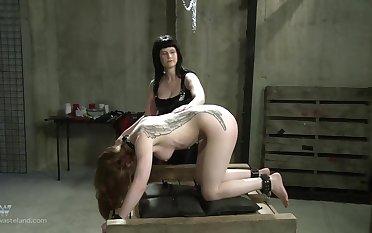 Tattooed blonde slave girl reaches intense orgasm when tied up