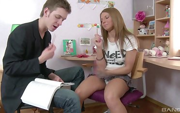Blonde amateur teen vixen Megan Vale missionary and doggy fucked