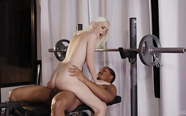 Petite blonde cutie aggravation fucked by a big black horseshit