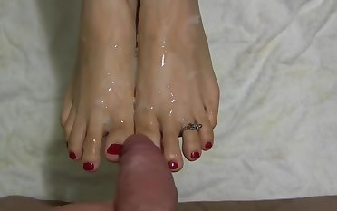 I like to show you my feets - X-rated Footjob - Black Socks - Red-hot Nails Fetish